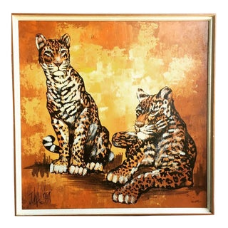 "Vintage ""Two Cheetahs"" Painting by J. Wallker For Sale"