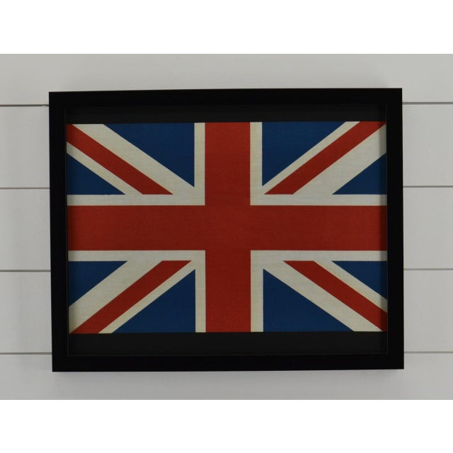Mid-Century Modern Pair of Framed Flags British, England, Uk & a Usa For Sale - Image 3 of 4