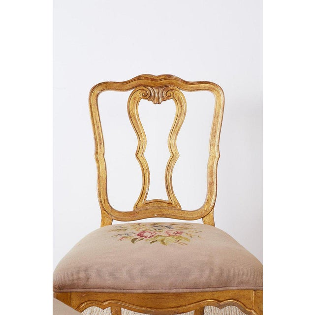 Set of Four Italian Giltwood Venetian Style Dining Chairs For Sale - Image 4 of 13