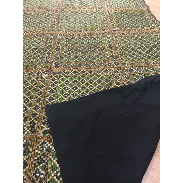 Vintage India Banjara Embroidered Mirrored Throw Blanket For Sale In Richmond - Image 6 of 11