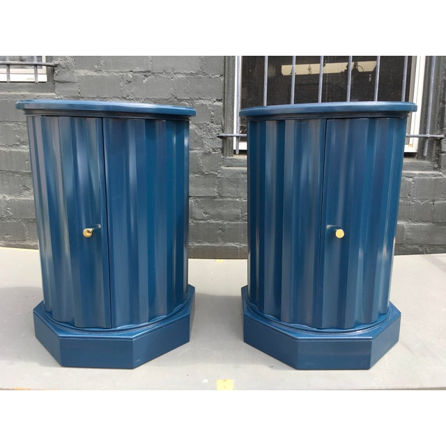 1950s Art Deco Dark Blue Lacquered Column Shaped Drum Tables - a Pair For Sale - Image 10 of 12