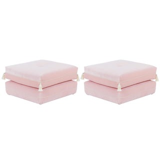 Casa Cosima Turkish Ottoman in Blush Velvet, a Pair For Sale