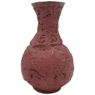 18th Century Cinnabar Vase With Floral Motif For Sale