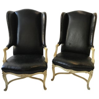 Pair of 1960s Lewis Mittman Leather French Style Wingback Chairs For Sale
