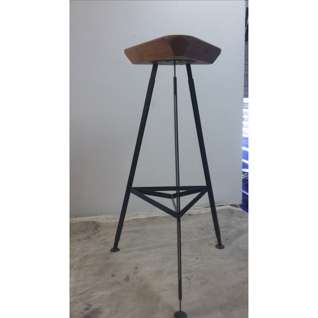Contemporary Delta Steel & Pine Stool For Sale - Image 3 of 5