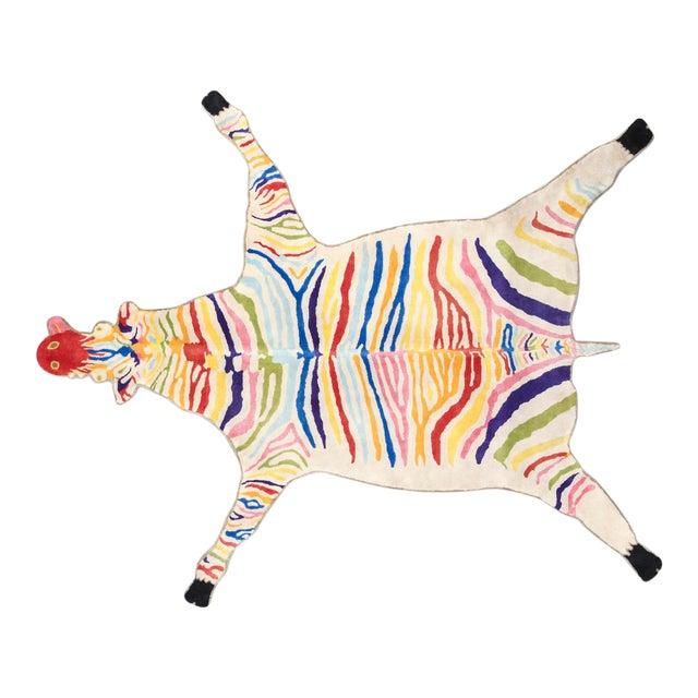'Fruit Stripe' quagga carpet in wool. For Sale