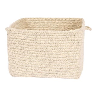 "Chunky Natural Wool Square Basket - Natural 18""x12"""