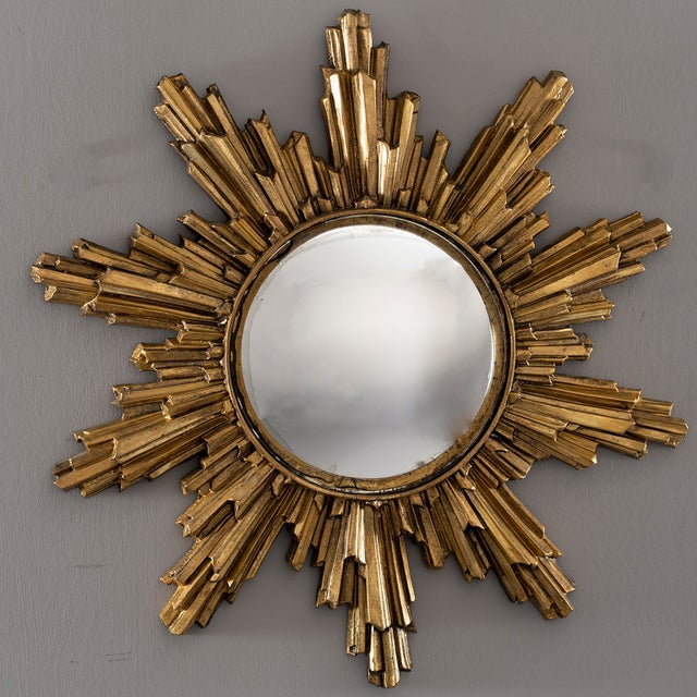 Mid Century Convex Gilded Sunburst Mirror For Sale - Image 10 of 10