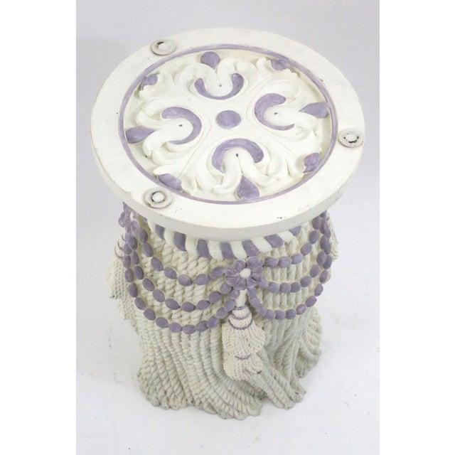 Textile Vintage Plaster Tassel Side Table For Sale - Image 7 of 9