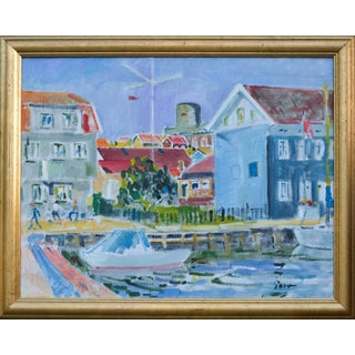 1970s Vintage Expressive Swedish Marina Oil Painting For Sale