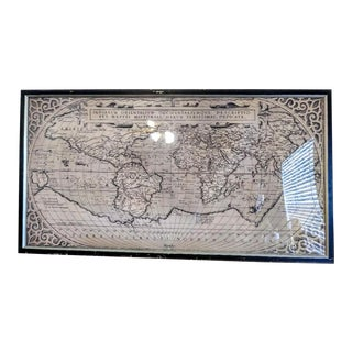 Restoration Hardware Monumental 1588 Framed World Map Print Wall Art Work For Sale