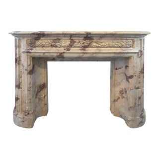 Turn of the Century Italian Terracotta Faux-Marble Fireplace For Sale