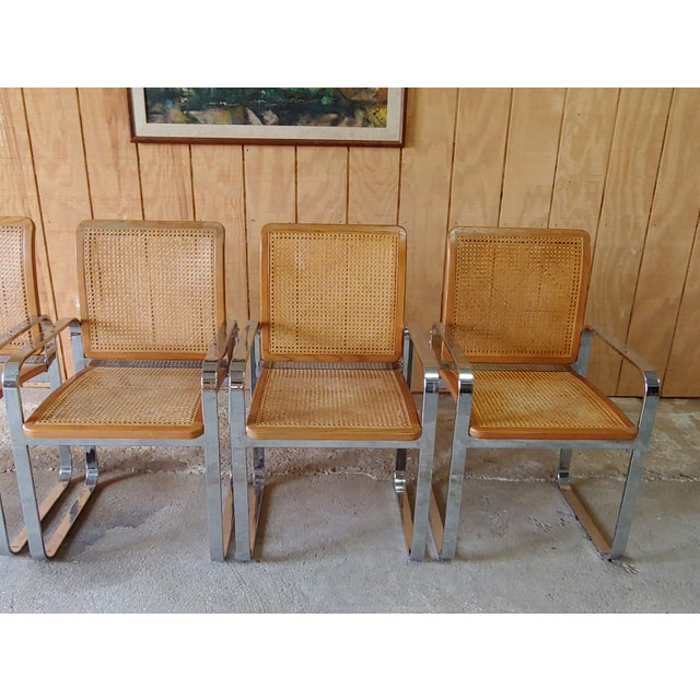1970s Vintage Modern Berkey Flat Chrome and Cane Dining Chairs - Set of 4 For Sale - Image 5 of 13