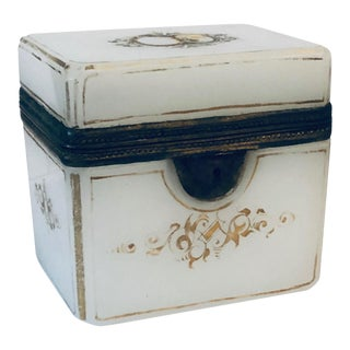 Antique French Opaline Hinged Box For Sale