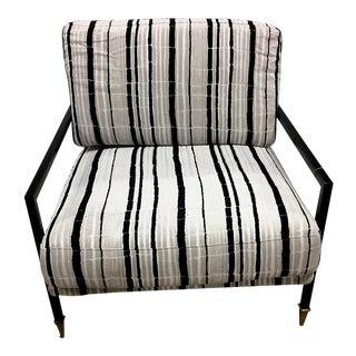 Sydney Black & White Velvet Lounge Chair For Sale