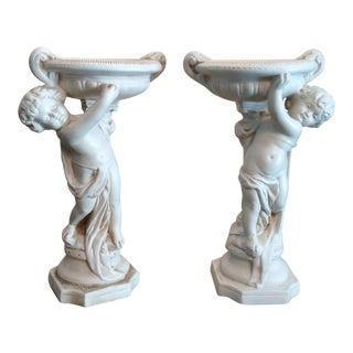Alexander Backer Chalkware Cherub Statues - A Pair