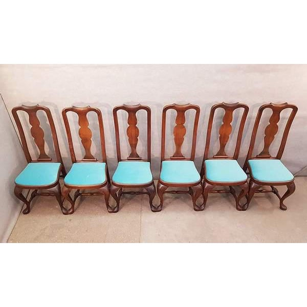 A superb quality set of six French Queen Anne style antique walnut dining chairs in the style of the Chippendale period...