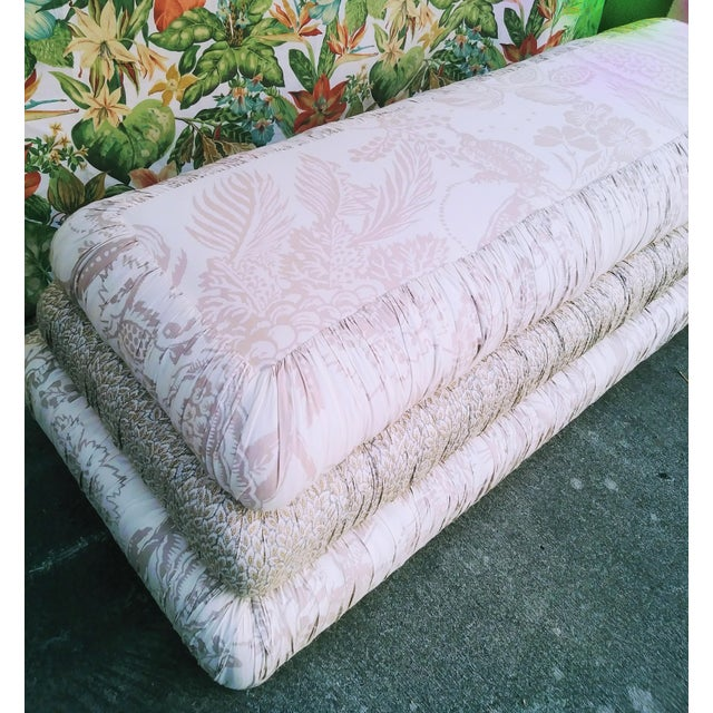 Traditional Custom Made Massive 3 Tiered Upholstered Bench Ottoman For Sale - Image 3 of 11
