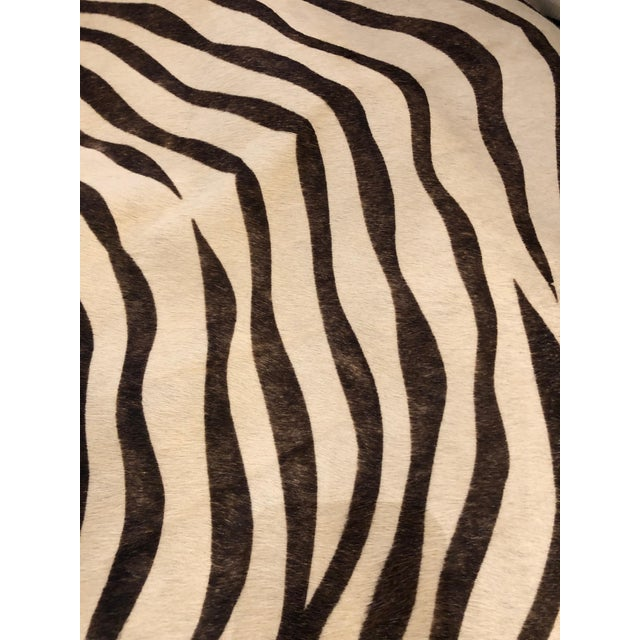 Traditional 1980s Vintage Printed Zebra Cowhide Upholstery Chair For Sale - Image 3 of 9