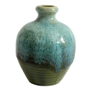 Vintage Petite Blue and Olive Pottery Bud Vase For Sale