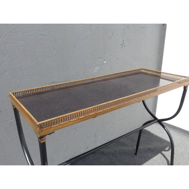 Hollywood Regency French Black Granite X Console Table - Image 8 of 10