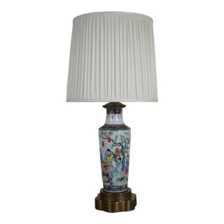 Vintage Japanese Hand Painted Satsuma Porcelain & Brass Vase Urn Table Lamp For Sale