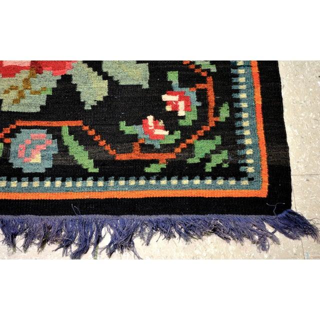 "Vintage Balkan Bessarabian Hand Made Organic Wool Natural Color Floral Kilim,6'5""x10'2"" For Sale - Image 4 of 5"