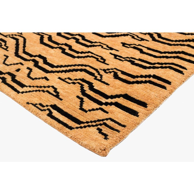 2010s Black and Golden Tan Wool Tibetan Tiger Area Rug For Sale - Image 5 of 6