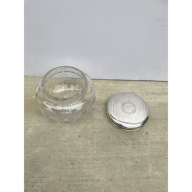 Late 19th Century Antique Collectible Crystal Powder Jar /Candy Jar /Container With Sterling Lid Top For Sale - Image 5 of 13