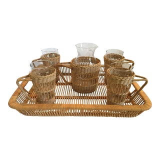 Vintage Complete Wicker Drink Set With Pitcher, Glasses and Tray - 11 Pc Set For Sale