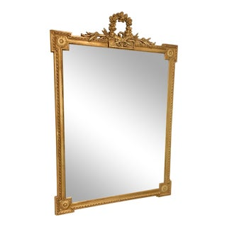 1950s Regency Grand Decorative Gold Wall Mirror For Sale