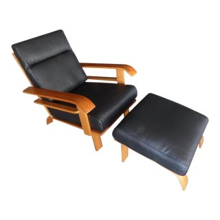 Deco Style Lounge Chair and Ottoman Attributed to Russel Wright for Conant Ball For Sale