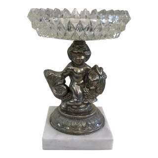 Vintage Crystal & Marble Cherub on Dolphin Compote For Sale