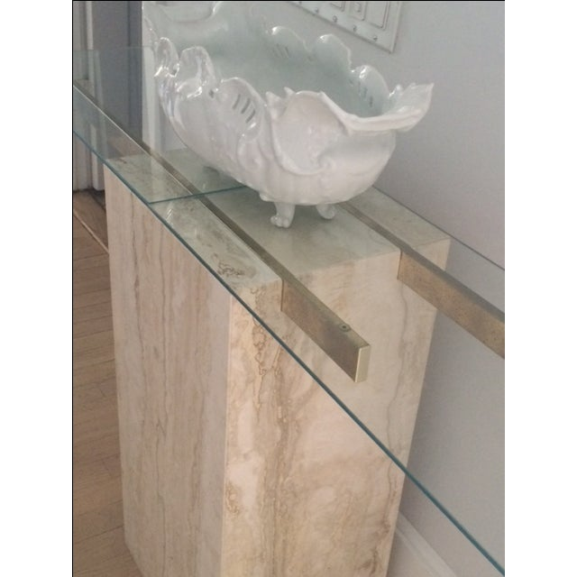 Mid-Century Modern Travertine Console Table & Glass Top - Image 3 of 11