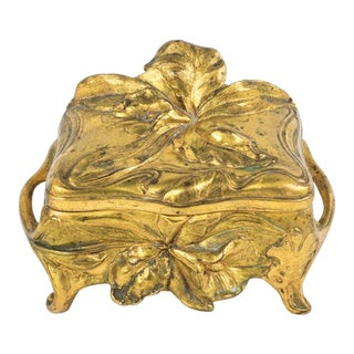 Vintage Art Nouveau Orchid/ Lily Brass Footed Trinket Box/Jewelry Casket For Sale