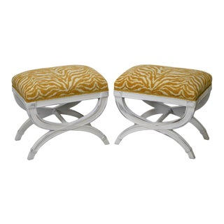 Hollywood Regency Custom Painted X Base Ottomans or Benches - A Pair