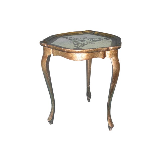 White & Gold Florentine Small Side Table - Image 1 of 6