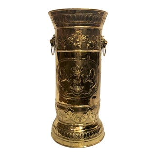 Antique Brass Repousse Umbrella Stand. For Sale
