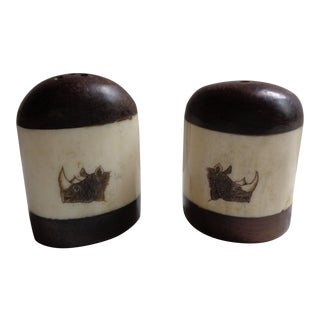 Vintage Wooden African Rhinoceros Salt and Pepper Shaker Set For Sale