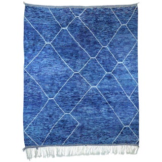 Contemporary Postmodern Memphis Style Blue Berber Moroccan Rug - 10′7″ × 12′6″ For Sale