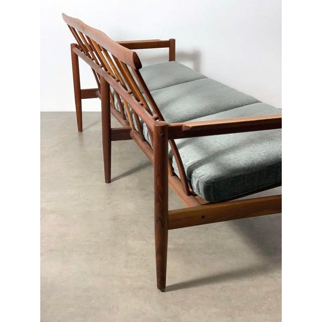1950s Vintage Borge Jensen Teak Frame Gray Three Seat Sofa For Sale In Detroit - Image 6 of 11