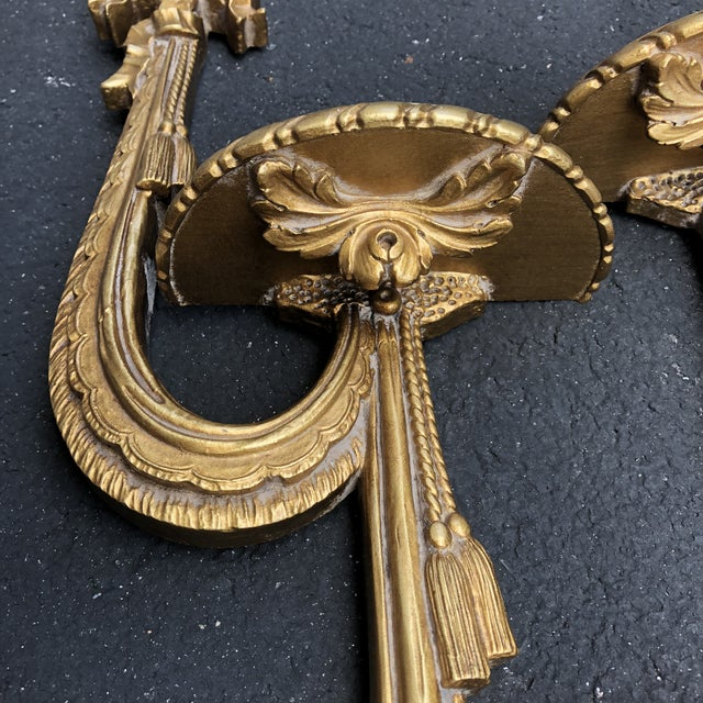 1950s Gold Gilt Ribbon Tassel Wall Shelf Sconces - a Pair For Sale - Image 5 of 8