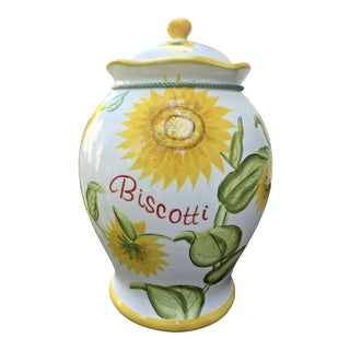 Vintage Hand Painted Italianate Ceramic Sunflower Biscotti Jug With Lid For Sale