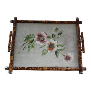 Antique Tortoise Shell Tray With Raw Silk Embroidery Under Glass For Sale