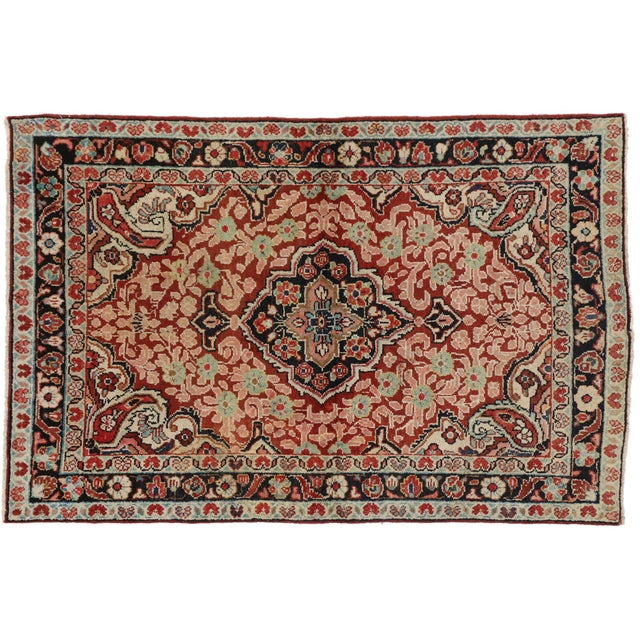 75981 Vintage Persian Mahal Accent Rug with Traditional Victorian Style 04'01 X 06'03. This vintage Persian Mahal accent...