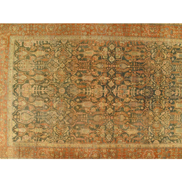 """Late 19th Century Antique Original Persian Sultanabad Hand-Knotted Rug - 10′7″ × 16′6"""" For Sale - Image 4 of 5"""