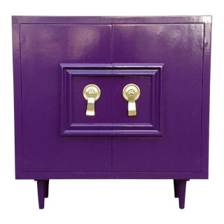 Hollywood Regency Deep Purple Vintage Lacquered Bar Cabinet