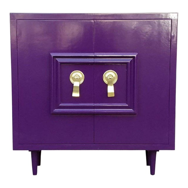 Hollywood Regency Deep Purple Vintage Lacquered Bar Cabinet - Image 1 of 8