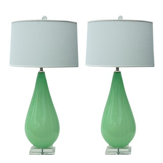 Joe Cariati Hand Blown Glass Table Lamps Green For Sale