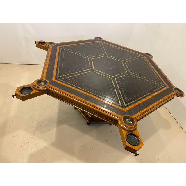 Transitional Maitland-Smith Embossed Leather Game Table For Sale - Image 3 of 12